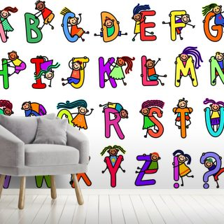 Alphabetical Letters with Happy Boys and Girls