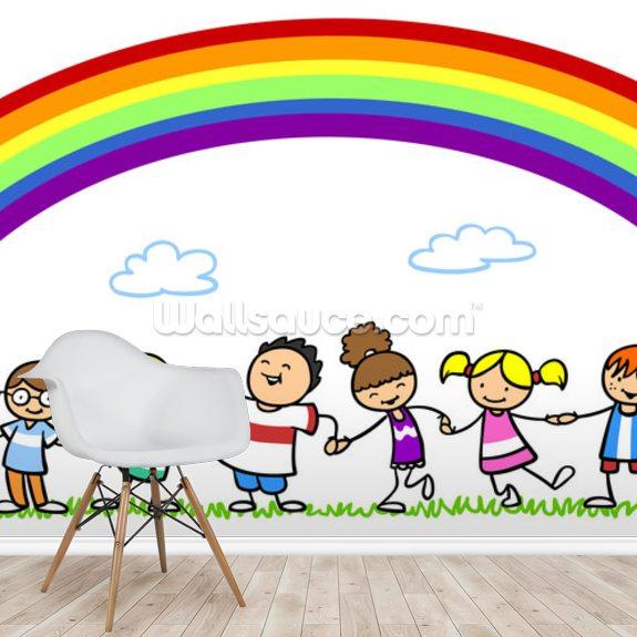 Holding Hands Under Rainbow