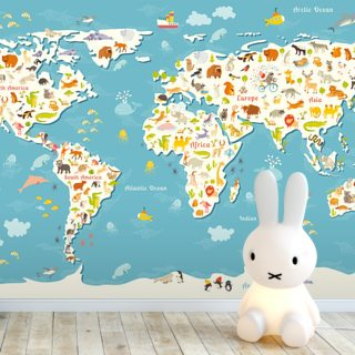 Animals World Map Wallpaper Wall Murals