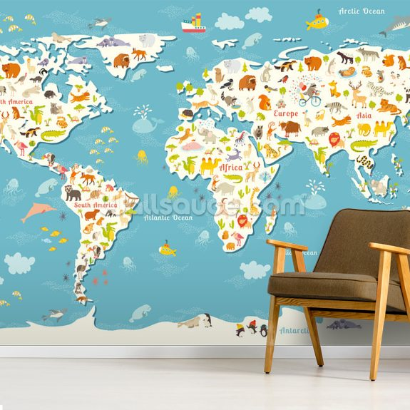 Animals World Map wall mural room setting