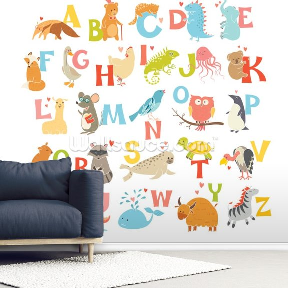Cute Zoo Alphabet wall mural room setting