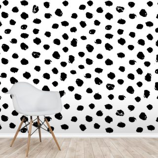 Abstract Black & White Hand Drawn Polka Dots Pattern Background