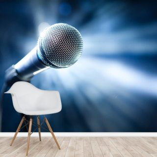 Microphone on Stage Wallpaper Wall Murals