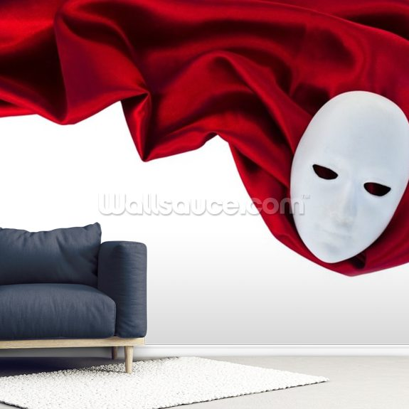 White Mask On Red Silk Fabric Wall Mural Room Setting