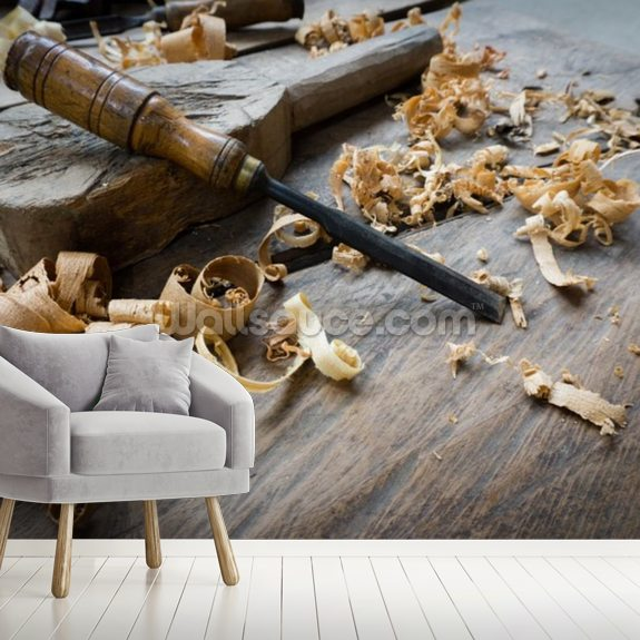 Woodworking Tools With Wooden Shavings