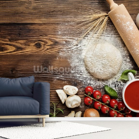 Pizza Dough with Ingredients mural wallpaper room setting