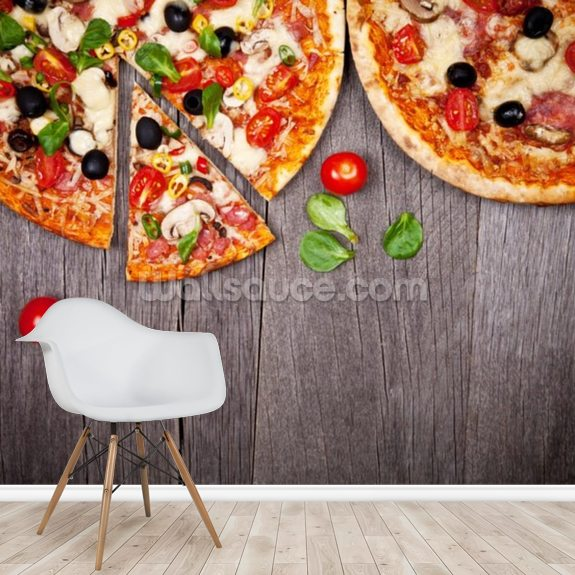 Delicious Italian Pizzas Served on Wooden Table wallpaper mural room setting