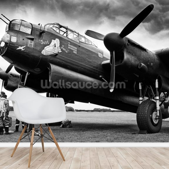 Avro Lancaster and crew mural wallpaper room setting