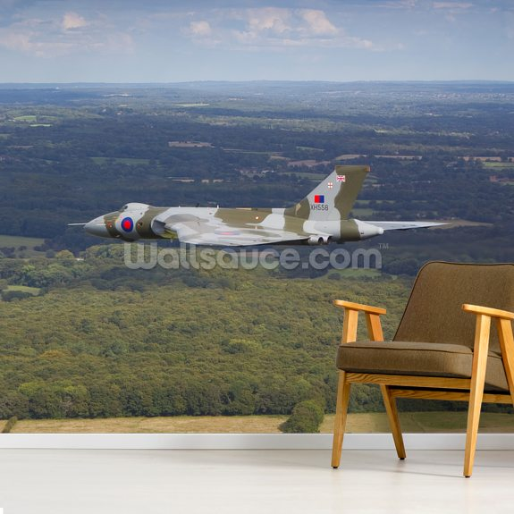 Avro Vulcan Bomber over countryside wallpaper mural room setting
