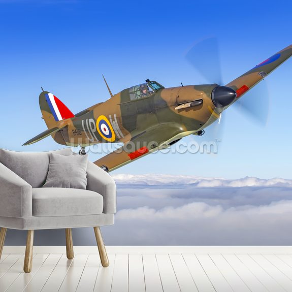 Battle of Britain Hurricane Above the Clouds mural wallpaper room setting
