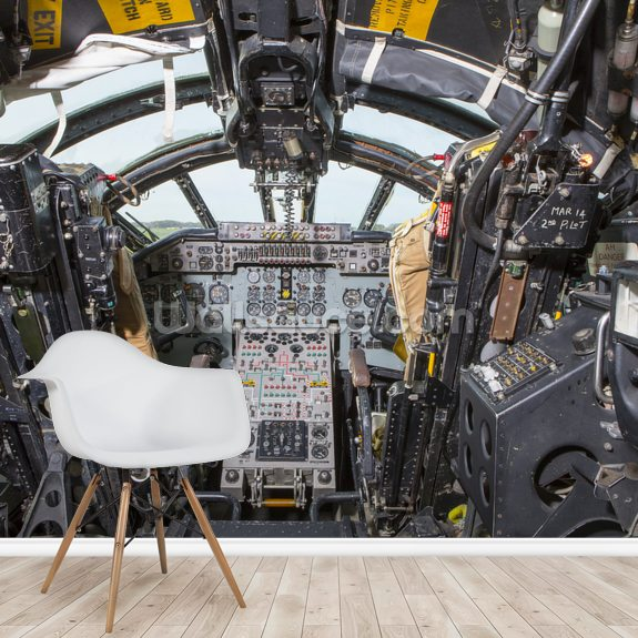 Cold War Bomber cockpit wall mural room setting