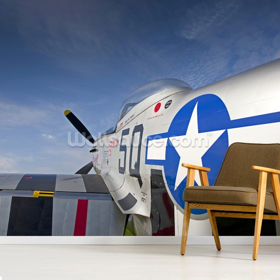 North American Mustang Fighter mural wallpaper room setting