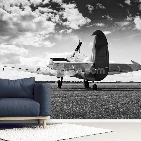 Supermarine Spitfire Mk V at rest wallpaper mural room setting