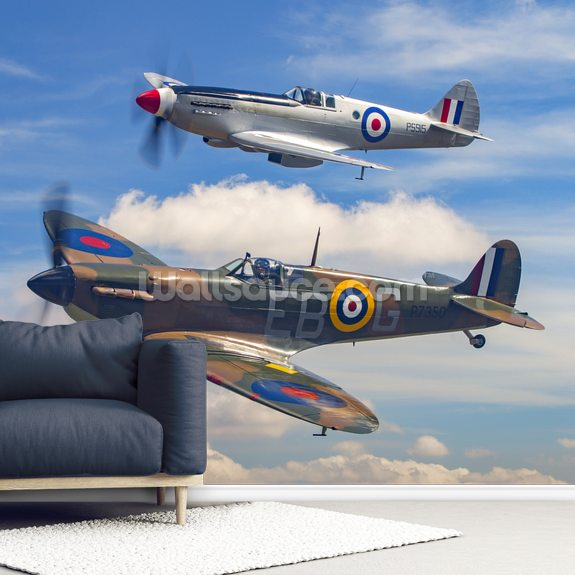 Supermarine Spitfire Pair mural wallpaper room setting