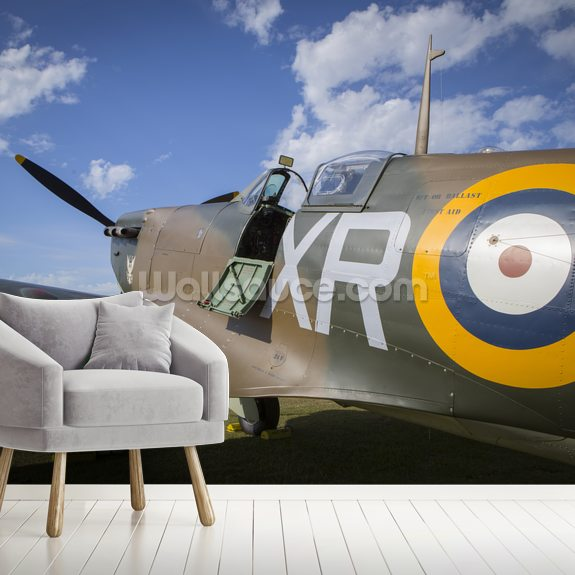 Supermarine Spitfire up close wallpaper mural room setting