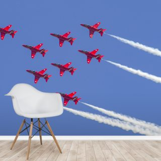 The Red Arrows aerobatic team formation