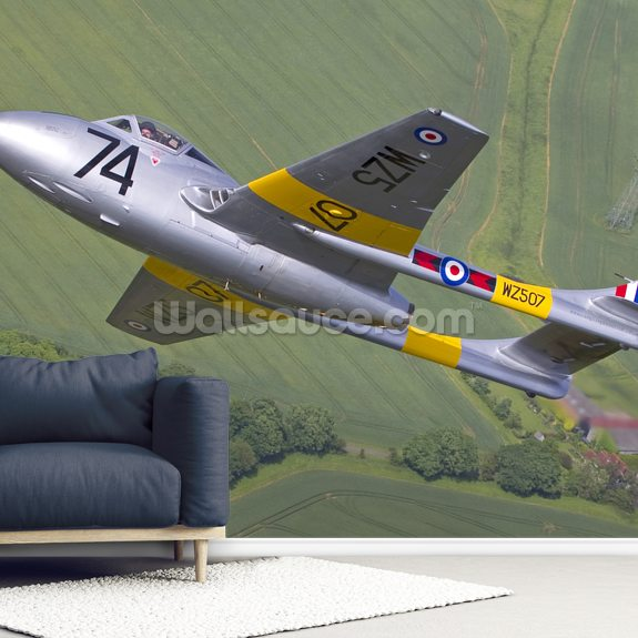 De Havilland Vampire Jet Trainer mural wallpaper room setting