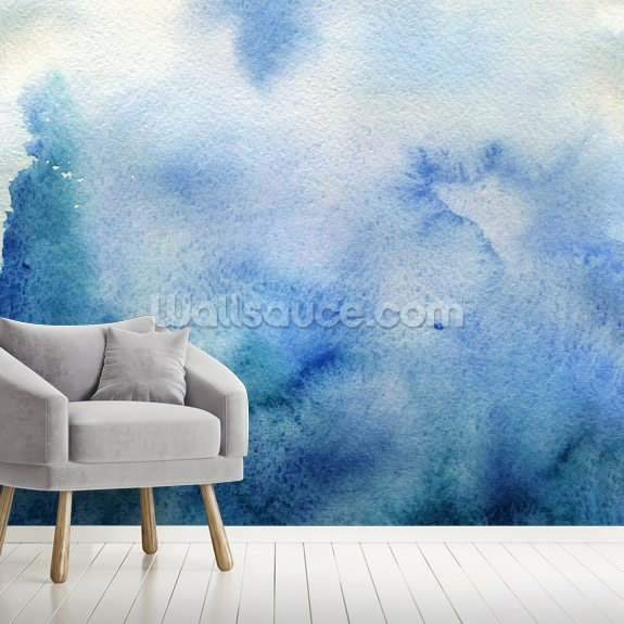 Delicate Blue Watercolor wallpaper mural room setting