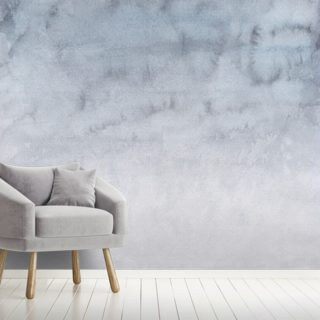 Watercolor Light Gray and White Sky Wallpaper