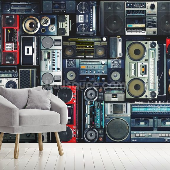 Boombox wall mural room setting