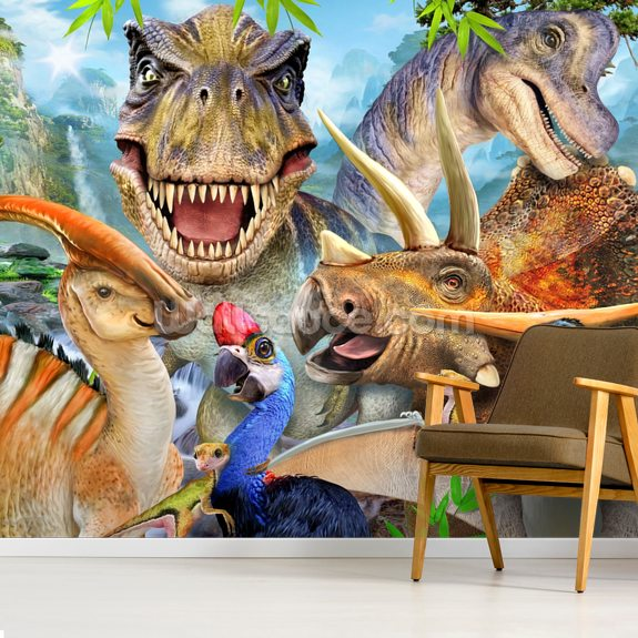 Dino Selfie mural wallpaper room setting