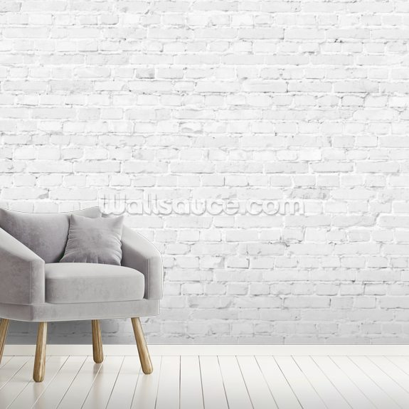 White Brick wall mural room setting