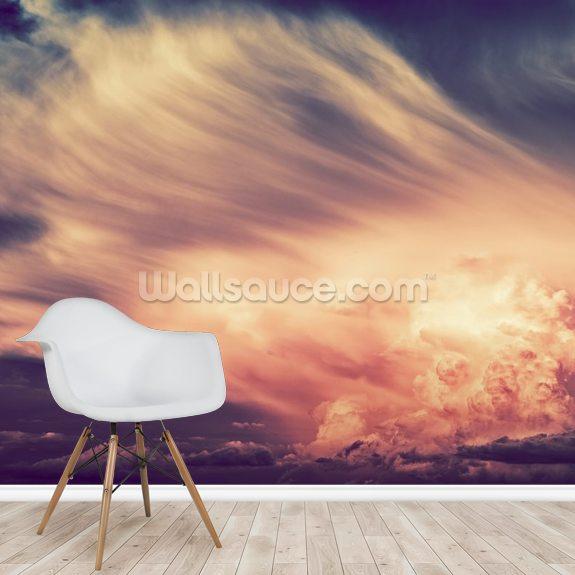 Scenic Sunset Storm Mural Wallpaper Room Setting