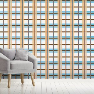 Orange and Blue Pattern Wallpaper Wall Murals