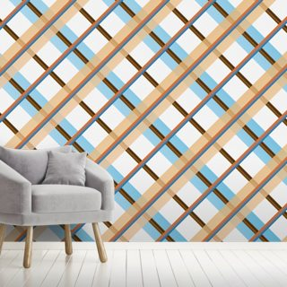 Orange and Blue Vintage Wallpaper Wall Murals
