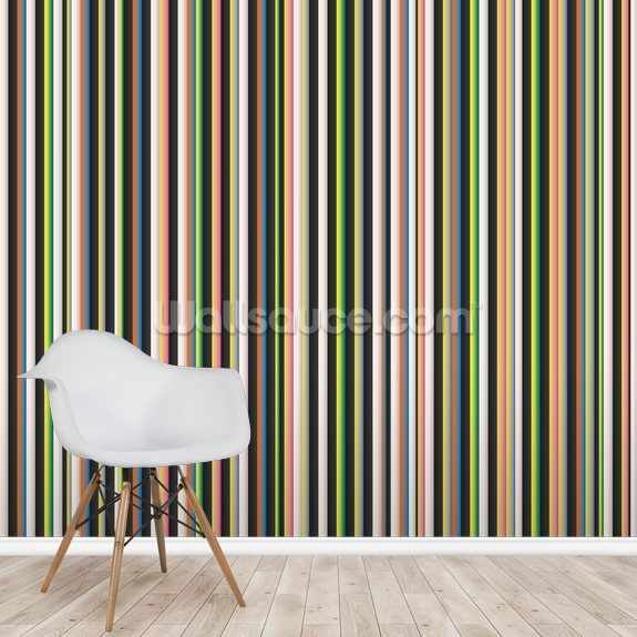 Twisted Pixels Stripes mural wallpaper room setting