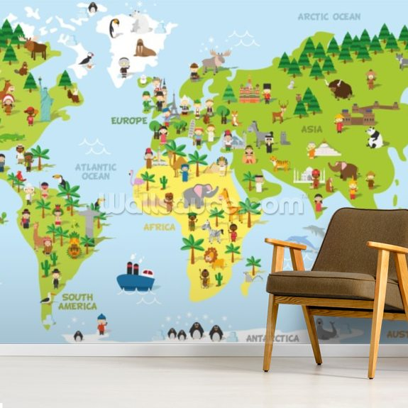 Funny Cartoon World Map Wallpaper Wallsauce Us - Cartoon-map-of-the-us