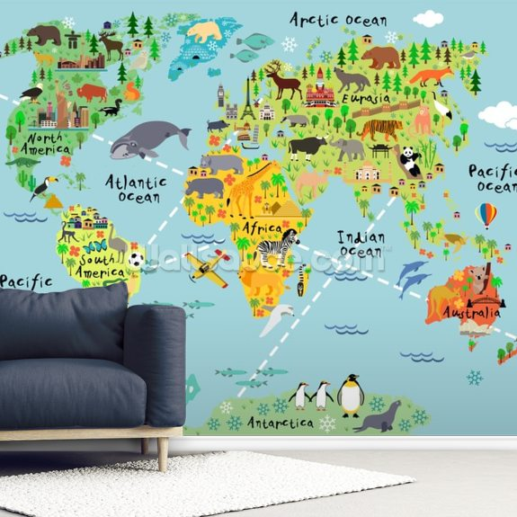 Cartoon World Map Wallsauce Us - Cartoon-map-of-the-us