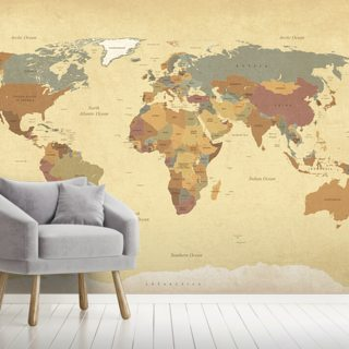 Textured Vintage World Map