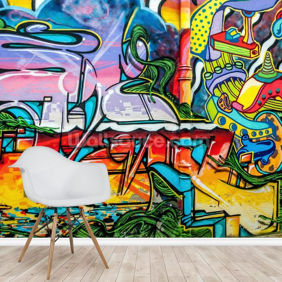 Colourful Graffiti Mural wall mural room setting