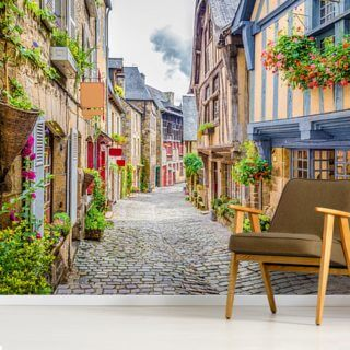 Beautiful alley scene in an old town in Europe Wallpaper Wall Murals