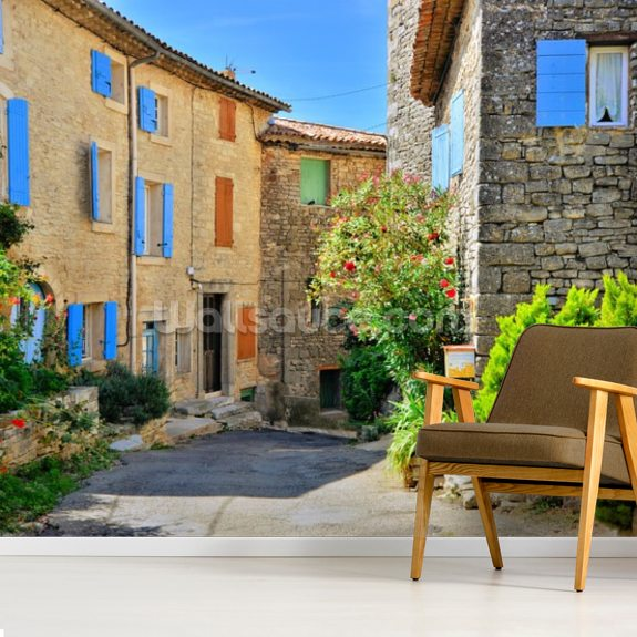 Pretty houses with colorful shuttered windows in a quaint village in Provence, France wall mural room setting