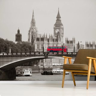 London Bus on Lambeth Bridge Wallpaper Wall Murals