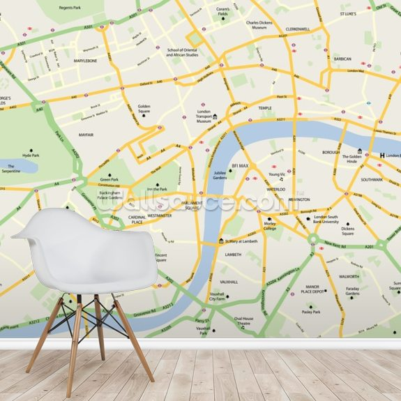 Easy London Map.London Map Wallpaper Mural Wallsauce Us