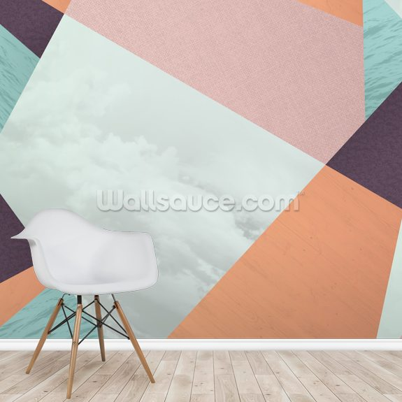 Cherry Geometric Pattern wall mural room setting