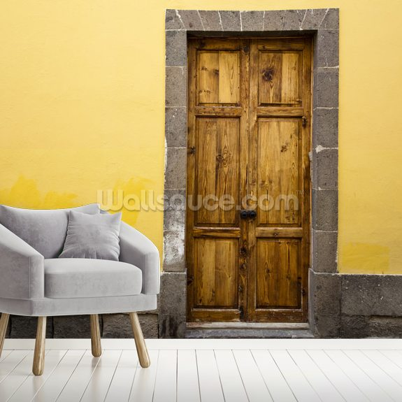 Wood and Yellow wallpaper mural room setting