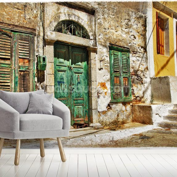 Charming old streets of Greek islands mural wallpaper room setting