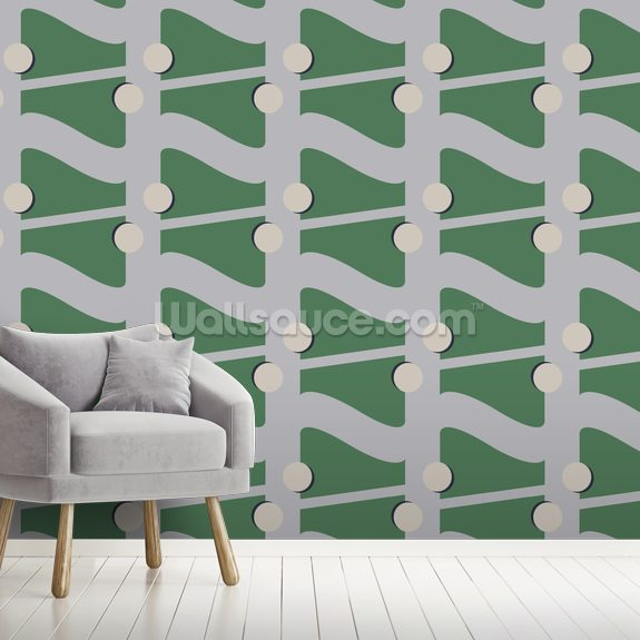 Fibre Green wall mural room setting