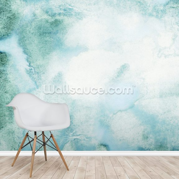 Abstract Watercolor in Green wall mural room setting