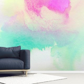 Watercolor Wallpaper - Pink, Yellow and Green