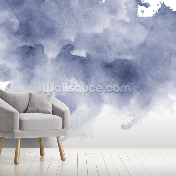 Blue and Black Watercolor Wallpaper mural wallpaper room setting