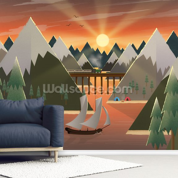 Sunset Lake mural wallpaper room setting