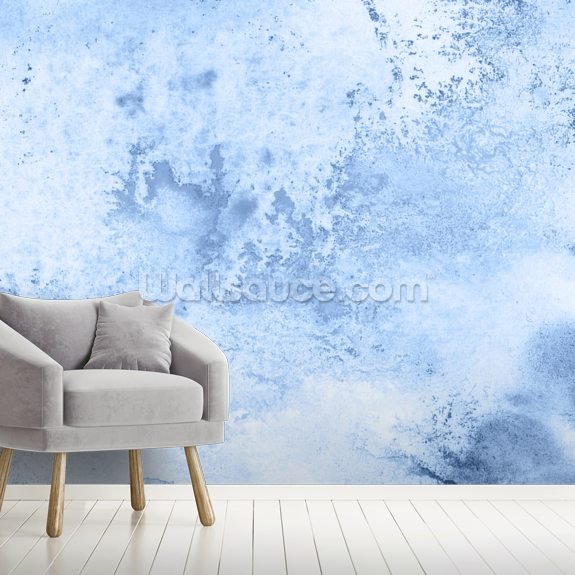 Blue Watercolor wallpaper mural room setting