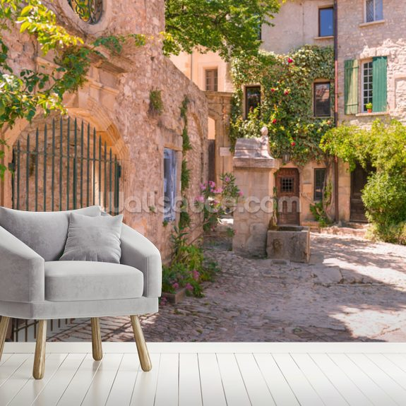 Old town in provence mural wallpaper room setting