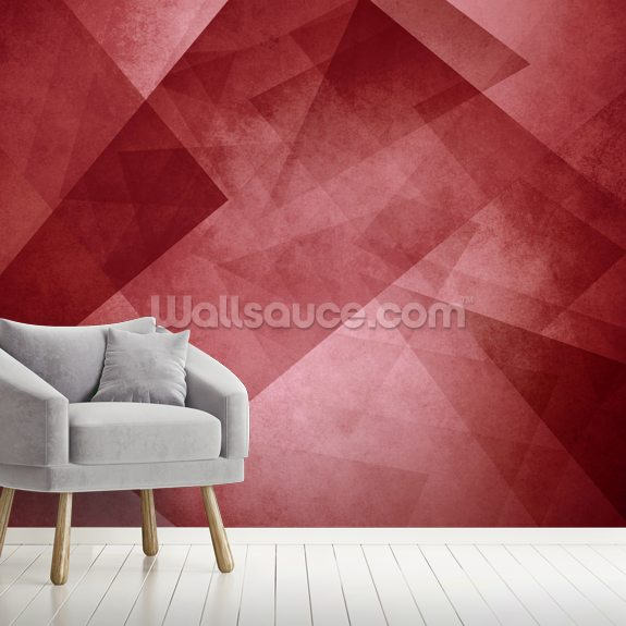 Red Triangles wallpaper mural room setting