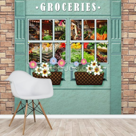 Groceries mural wallpaper room setting